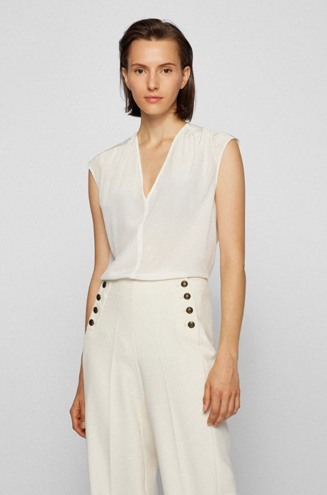 Relaxed-fit sleeveless top in washed silk, White
