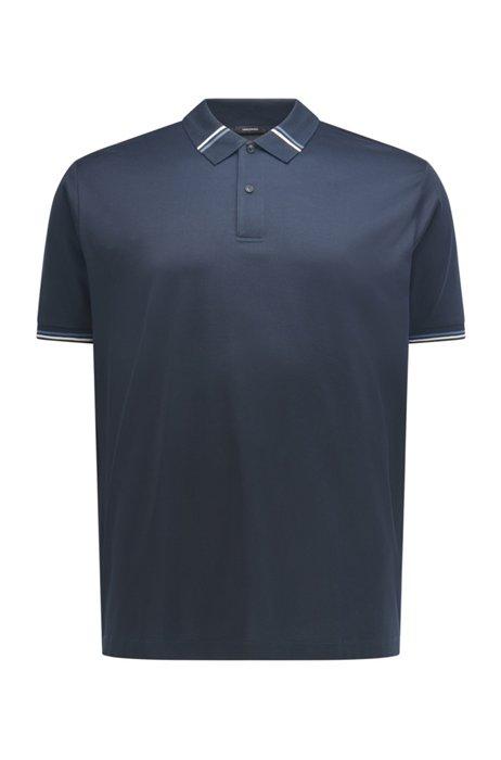 Polo Slim Fit en coton mercerisé, Bleu foncé