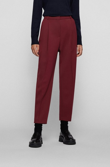 Cropped relaxed-fit pants in stretch wool, Dark Red