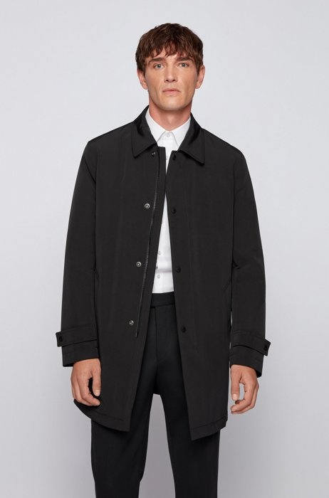 Water-repellent coat in recycled fabric, Black