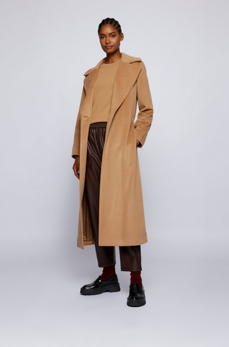 Belted cashmere coat with covered closure and oversize lapels, Light Brown