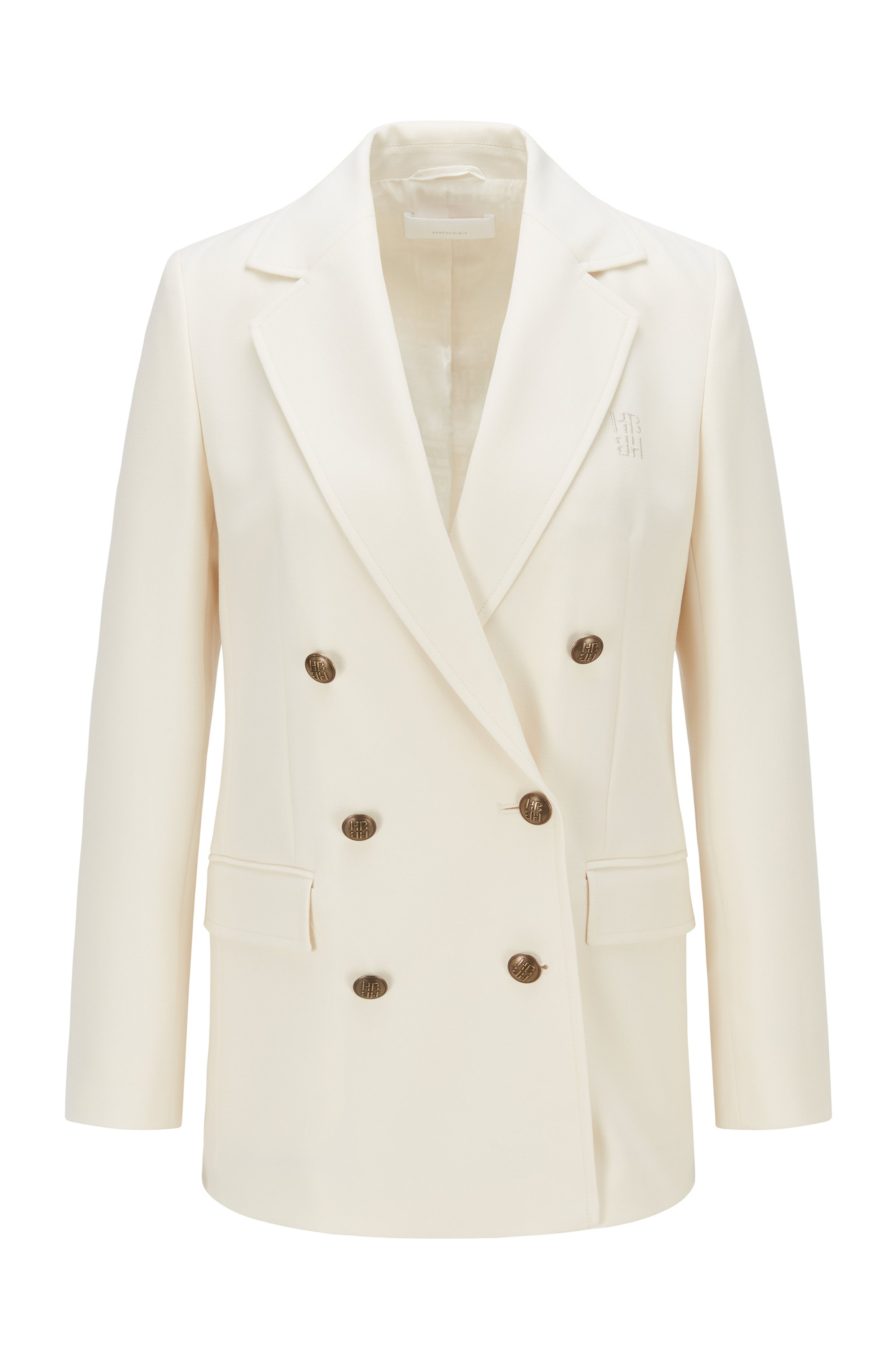 Double-breasted relaxed-fit jacket with monogram buttons, White