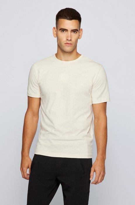 Organic-cotton slim-fit T-shirt with circle logos, White