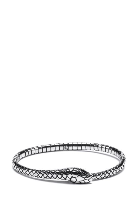 Uroboros snake cuff in stainless steel, Silver