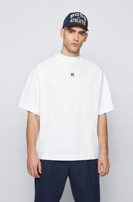 T-shirt mixte Relaxed Fit en coton biologique avec logo exclusif, Blanc
