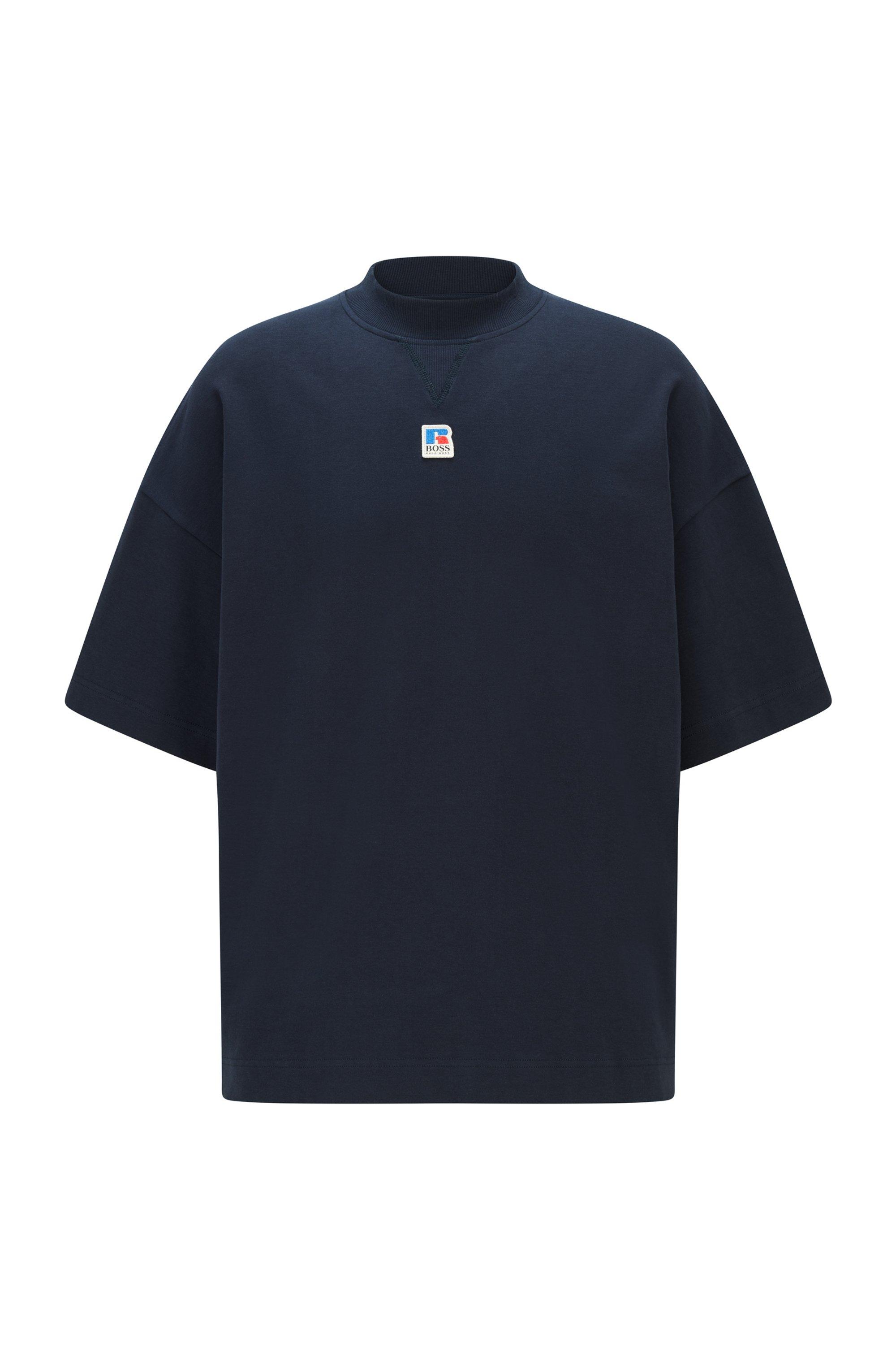 T-shirt mixte Relaxed Fit en coton biologique avec logo exclusif, Bleu foncé