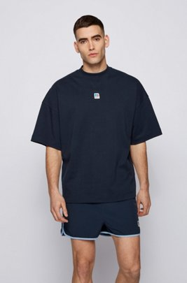 Relaxed-fit unisex T-shirt in organic cotton with exclusive logo, Dark Blue