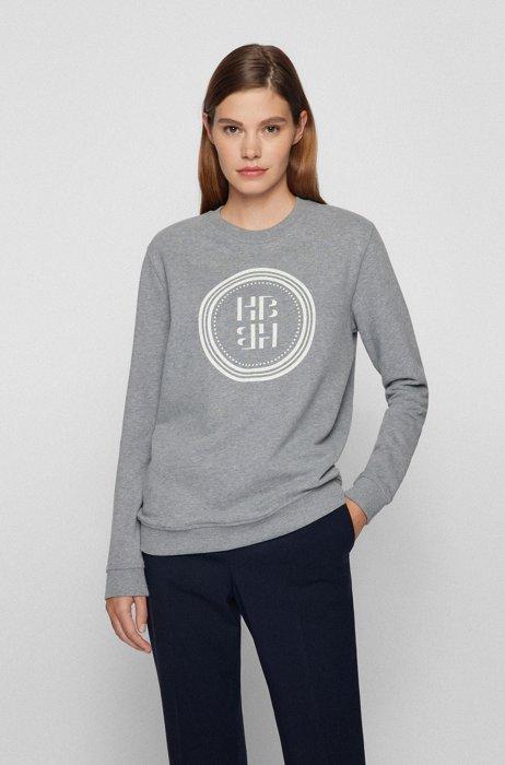 Logo-artwork sweatshirt in organic cotton, Silver