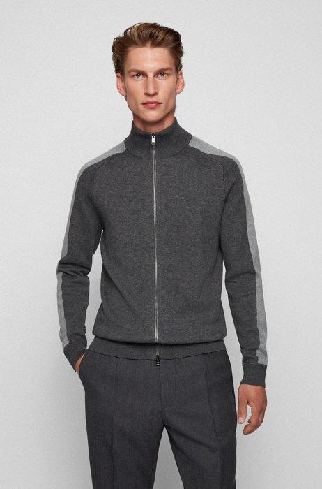 Zip-up cardigan in cotton and virgin wool, Grey