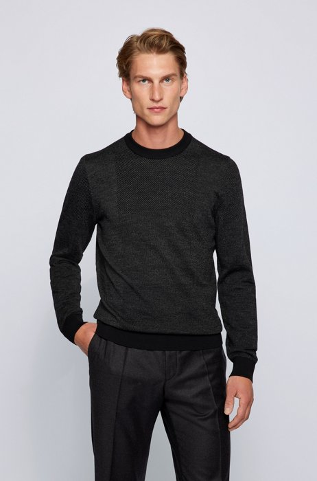 Crew-neck sweater in Italian wool with patchwork effect, Black