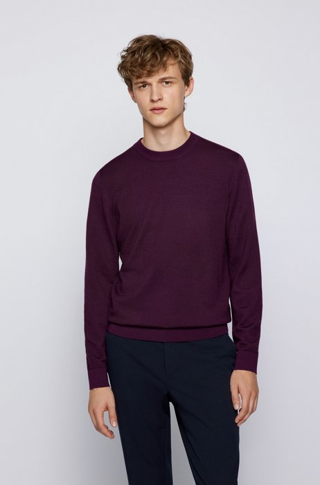 Crew-neck sweater in Italian wool with patchwork effect, Purple