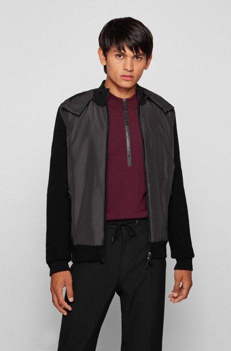 Logo-zip hybrid jacket with detachable hood, Black