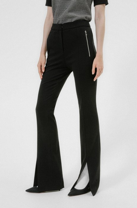 Slim-fit bootcut pants with front slits, Black