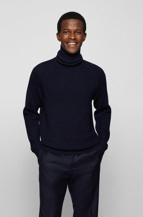 Rollneck sweater in ribbed virgin wool, Dark Blue