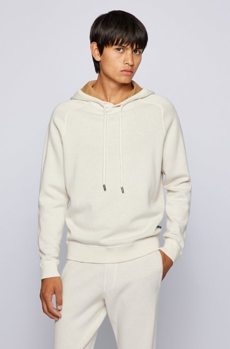 Hooded sweater in cotton and wool with contrast interior, White