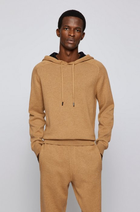 Hooded sweater in cotton and wool with contrast interior, Beige