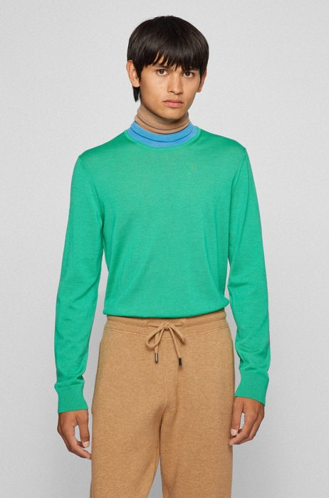 Virgin-wool rollneck sweater with color-blocking, Light Green