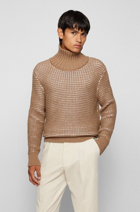 Relaxed-fit virgin-wool sweater with two-tone structure, Beige