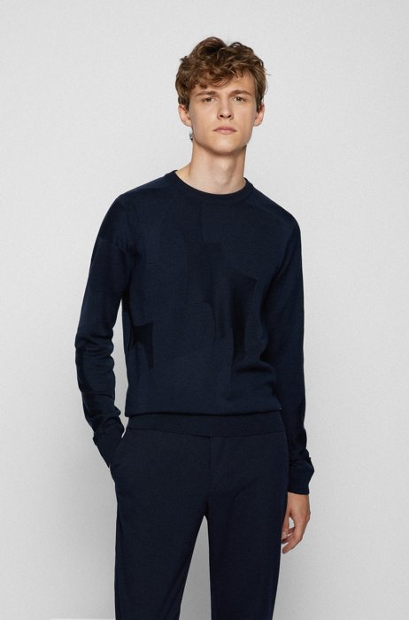 Silk sweater in slim fit with shadow-effect structure, Dark Blue