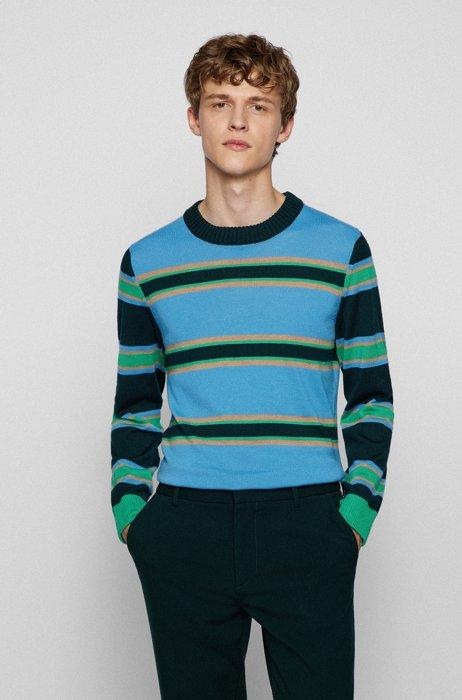 Virgin-wool regular-fit sweater with horizontal stripes, Light Blue