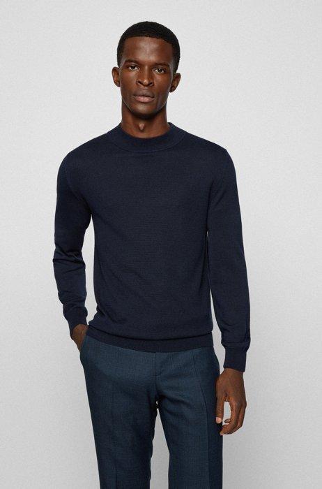 Pure-silk slim-fit sweater with mock neck, Dark Blue