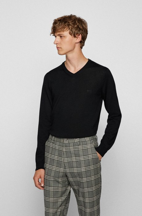 V-neck sweater in Italian virgin wool with logo embroidery, Black