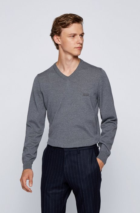 V-neck sweater in Italian virgin wool with logo embroidery, Grey