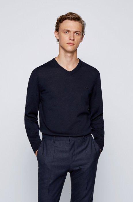 V-neck sweater in Italian virgin wool with logo embroidery, Dark Blue