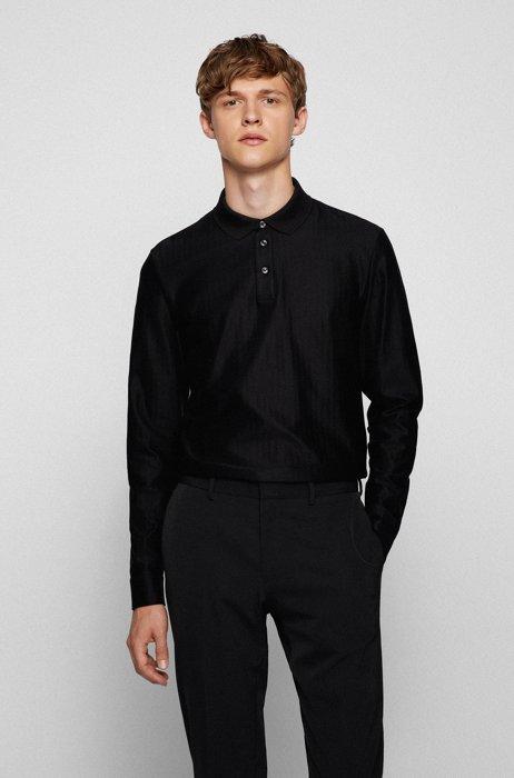 Slim-fit polo shirt in herringbone-structured mercerized cotton, Black