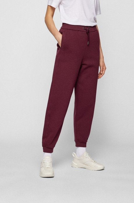 Relaxed-fit tracksuit bottoms in cotton-blend jersey, Dark Red