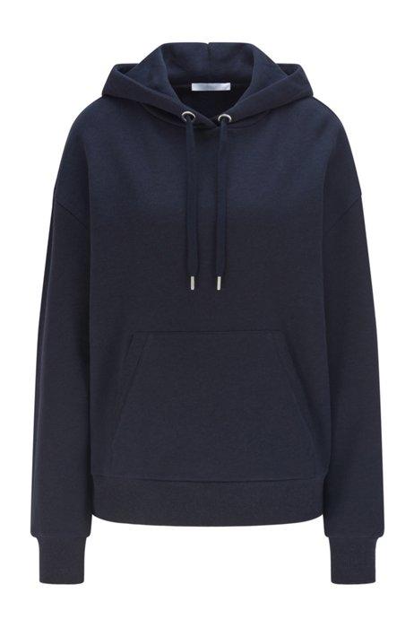 Cotton-blend sweatshirt with logo-print hood, Light Blue