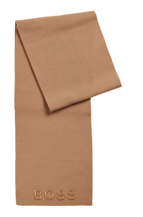 Ribbed scarf in virgin wool with tonal logo, Light Brown