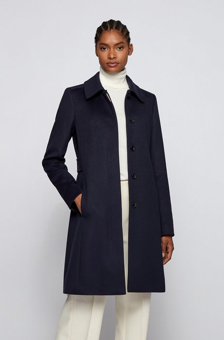 Regular-fit coat in merino wool and cashmere, Light Blue