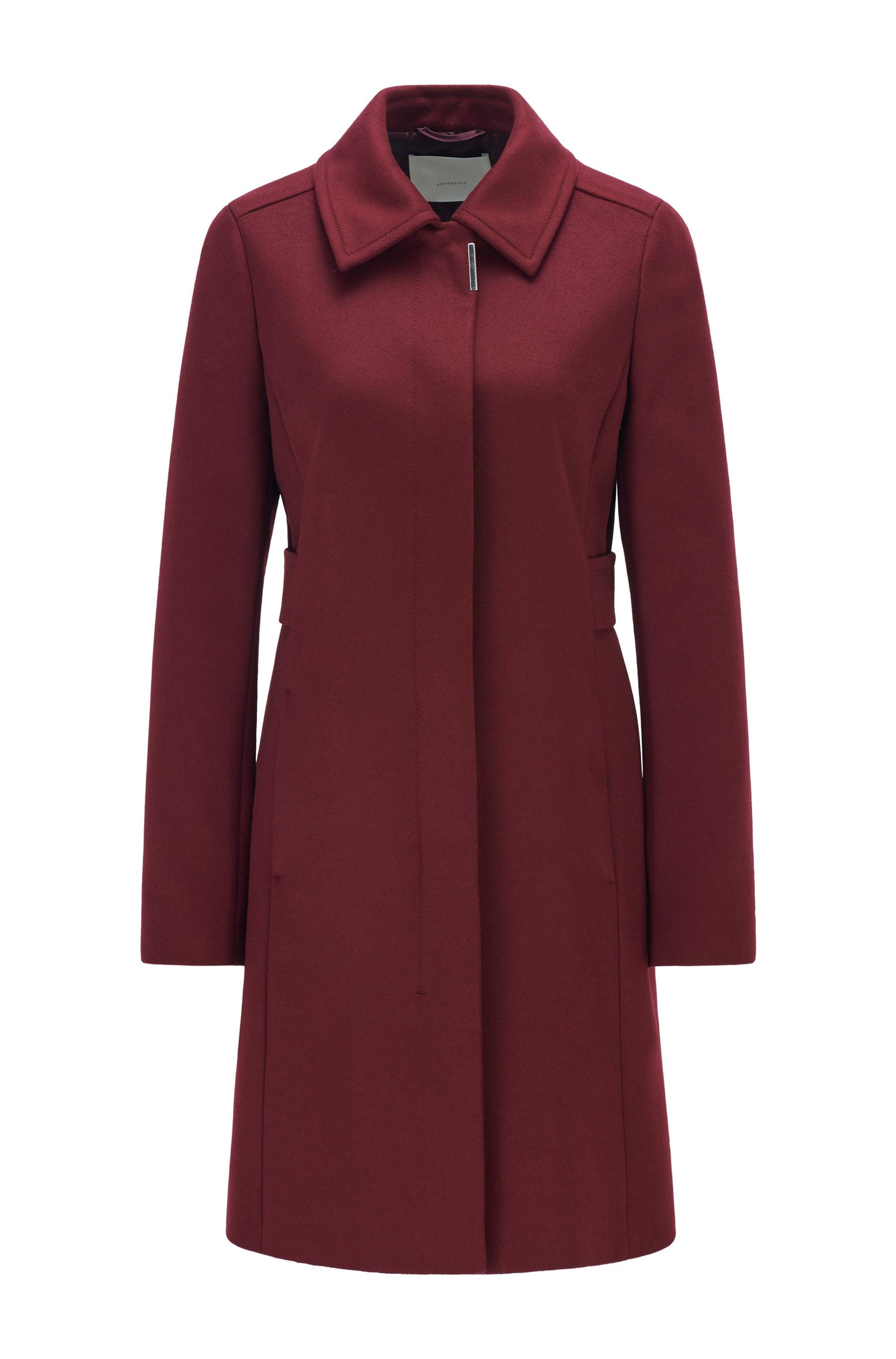 Regular-fit coat in merino wool and cashmere, Dark Red