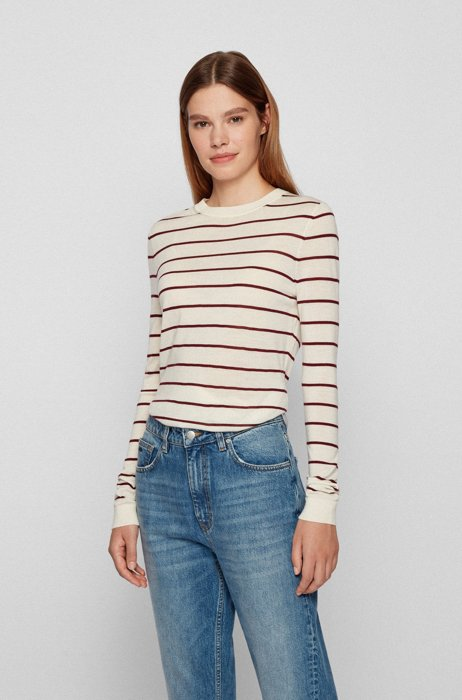 Striped regular-fit sweater in responsible merino wool, Patterned