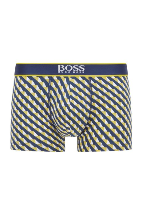 Logo-waistband trunks in printed stretch-cotton jersey, Yellow