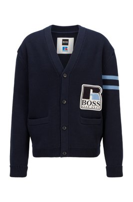 Unisex relaxed-fit cardigan in cotton with exclusive logo, Dark Blue