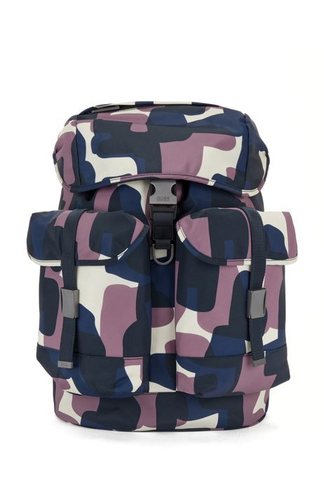 Italian-nylon backpack with camouflage print, Patterned