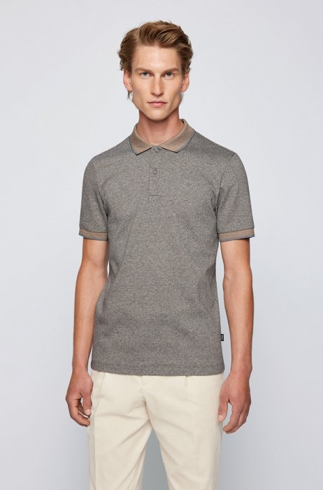 Organic-cotton slim-fit polo shirt with contrast details, Black