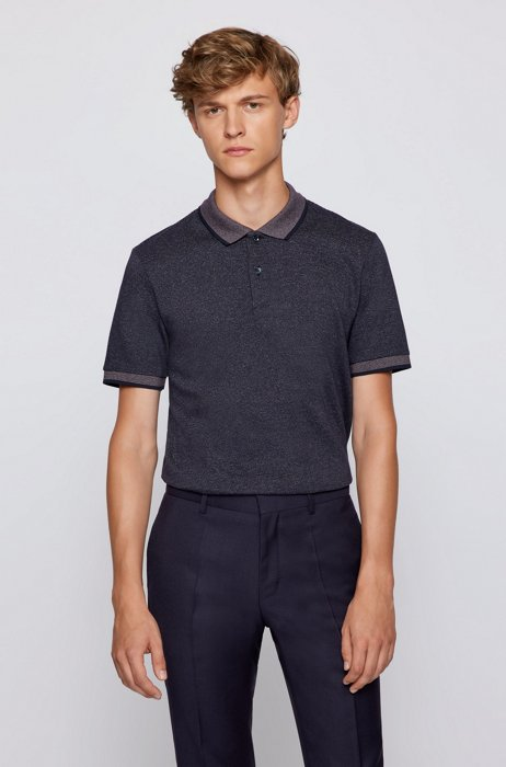 Organic-cotton slim-fit polo shirt with contrast details, Dark Blue