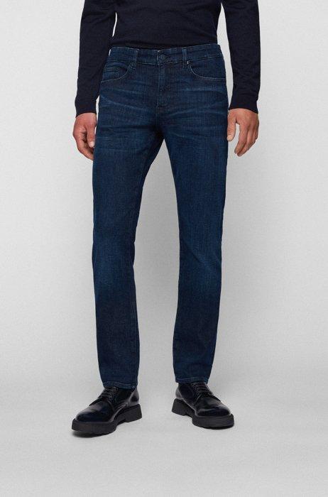 Slim-fit jeans in blue cashmere-touch denim, Dark Blue