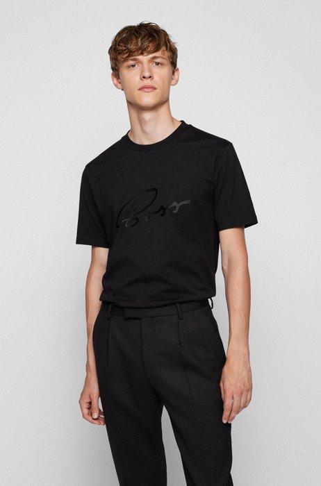Logo-artwork regular-fit T-shirt in cotton jersey, Black