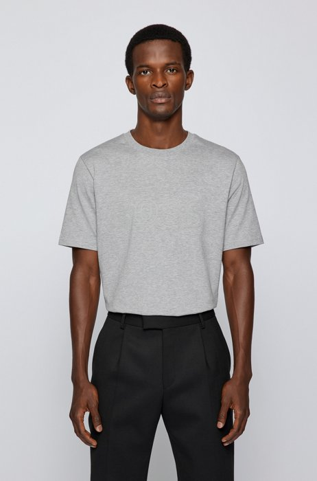 Logo-artwork regular-fit T-shirt in cotton jersey, Silver