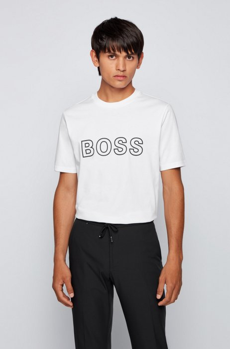 Logo-artwork regular-fit T-shirt in cotton jersey, White