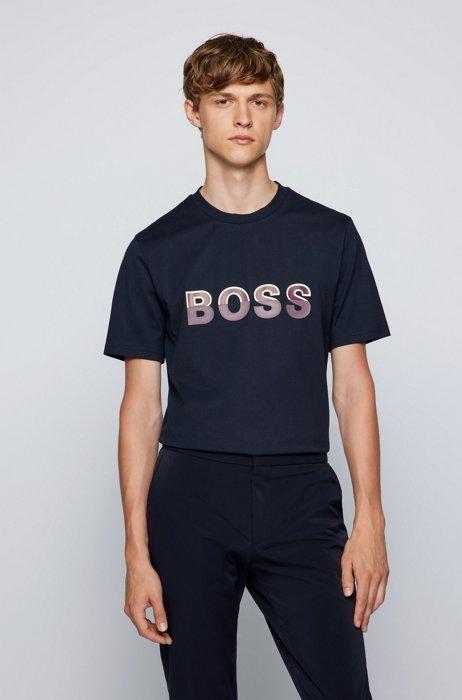 Logo-artwork regular-fit T-shirt in cotton jersey, Dark Blue