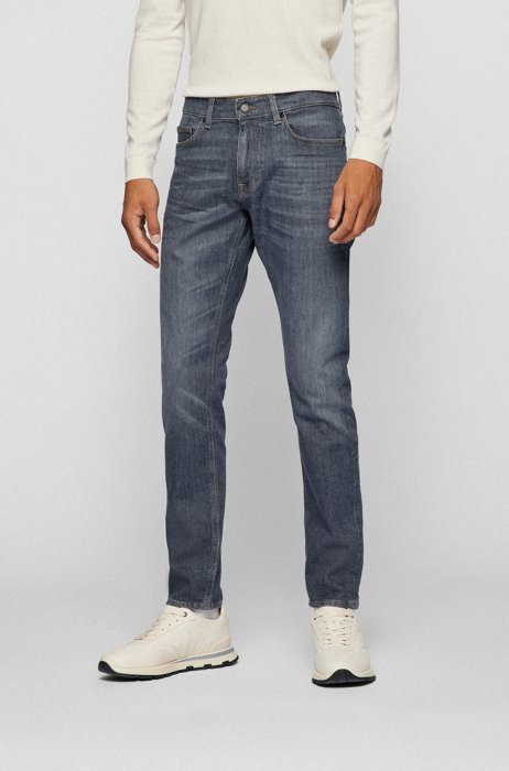 Slim-fit jeans in gray comfort-stretch denim, Grey