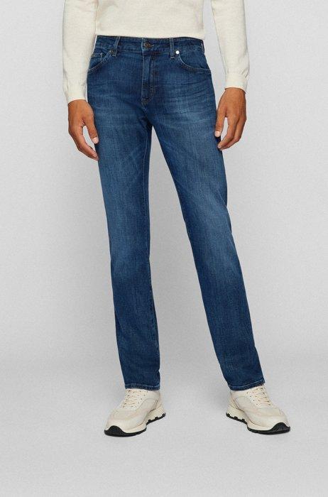 Regular-fit jeans in cashmere-touch Italian denim, Blue