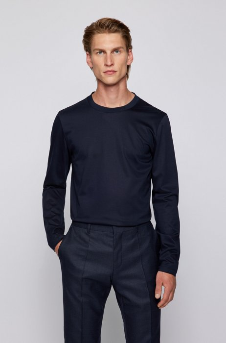 Slim-fit long-sleeved T-shirt in mercerized cotton, Dark Blue