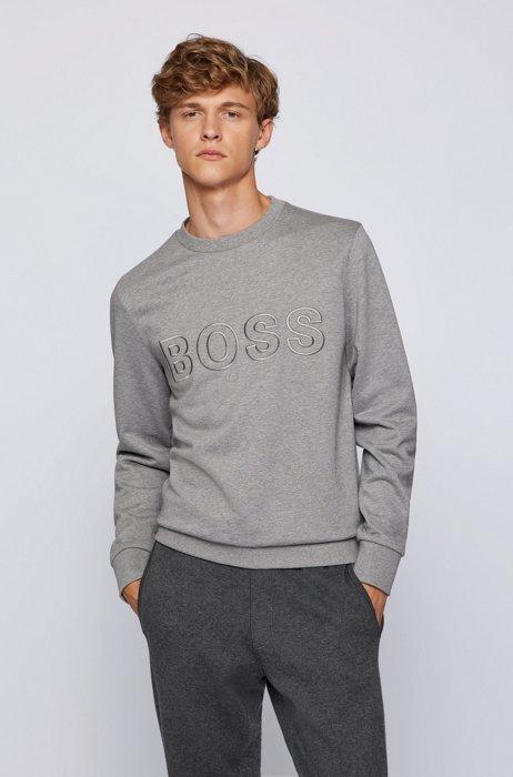 Logo sweatshirt in mercerized organic cotton, Silver