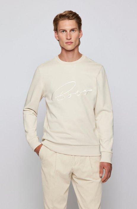 Logo sweatshirt in mercerized organic cotton, White